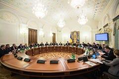 Reunión de la seguridad nacional y consejo de defensa en Kiev Imagenes de archivo