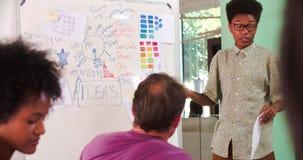 Reunión de Leading Creative Brainstorming del encargado en oficina almacen de video