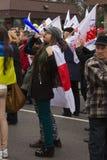 Reunión de los manifestantes cerca de la embajada rusa Fotografía de archivo
