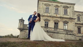 Reunión de los pares de la boda antes del castillo metrajes