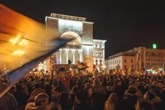 Reunión de los rumanos en la protesta anticorrupción más grande Imágenes de archivo libres de regalías