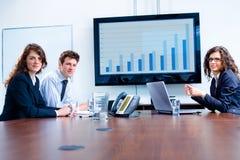 Reunión de negocios en el sitio de tarjeta Foto de archivo libre de regalías