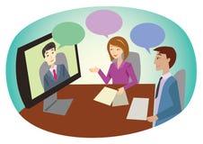 Reunión de negocios en línea stock de ilustración