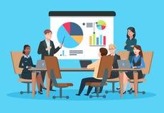 Reunión de negocios Gente plana en conferencia de la presentación Hombre de negocios en la estrategia del proyecto infographic Se stock de ilustración