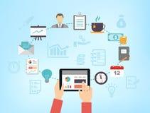 Reunión de negocios o gestión de organización de la productividad