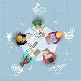 Reunión de negocios y reunión de reflexión Diseño plano Imagen de archivo libre de regalías