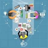Reunión de negocios y reunión de reflexión Diseño plano Fotografía de archivo libre de regalías