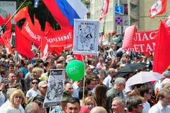 Reunión de oposición en el día de Rusia en el prospec Foto de archivo