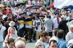 Reunión de oposición en el día de Rusia en el prospec Fotografía de archivo