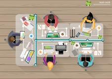Reunión de reflexión de la esquina del top del lugar de trabajo del negocio del vector ilustración del vector
