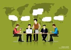 Reunión de reflexión del hombre de negocios del trabajo del equipo del vector a pensar global y reunión con los mapas del mundo u Imágenes de archivo libres de regalías