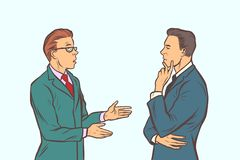 Reunión de reflexión de dos hombres de negocios Trabajo en equipo de la colaboración stock de ilustración
