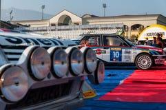 Reunión del coche de competición del DELTA internacional 16V 1994 de LANCIA vieja LA LEYENDA 2017 la raza histórica famosa de SAN Foto de archivo