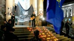 Reunión del día de Roman Shukhevych Memory en Kiev, Ucrania, almacen de metraje de vídeo