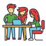 Reunión del equipo de la oficina de negocios, hombre y mujeres trabajando, brainstrorm, concepto de centro coworking Ilustración del Vector
