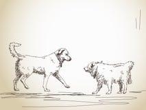 Reunión del perro su amigo Imagenes de archivo