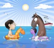 Reunión divertida de la playa ilustración del vector