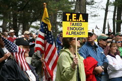 Reunión expresa del partido de té - ciudad traviesa, MI Foto de archivo libre de regalías