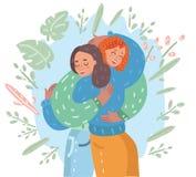 Reunión feliz del abrazo de dos amigos libre illustration