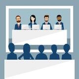 Reunión o videoconferencia de encargados, presentación, discurso, dirección, cumbre, entrenamiento del negocio stock de ilustración