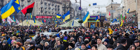 Reunión para la integración europea en el centro de Kiev Fotos de archivo