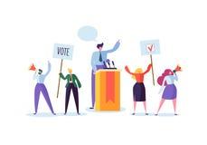 Reunión política con el candidato en discurso Campaña electoral de que vota con los caracteres que llevan a cabo banderas y muest ilustración del vector