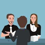 Reunión que habla del consultor que planea junto el papel de dos pares en la tabla stock de ilustración