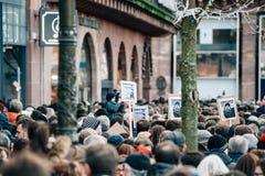 Reunión total de la unidad celebrada en Estrasburgo que sigue al terrorista reciente a Fotos de archivo