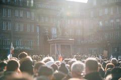 Reunión total de la unidad celebrada en Estrasburgo que sigue al terrorista reciente a Fotografía de archivo libre de regalías