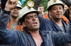 Reunión total en defensa de los mineros en Langreo Imágenes de archivo libres de regalías