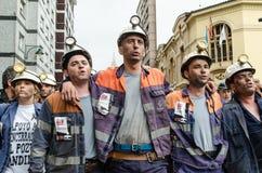 Reunión total en defensa de los mineros en Langreo Fotografía de archivo