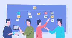 Reunión y proyecto del equipo del negocio del grupo que se inspiran proceso de planeamiento ilustración del vector