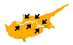 Reunification of Cyprus. Map of cyprus with arrows as metaphors - conflict and war with arrows as military forces going into battle and clash / connecting and Royalty Free Stock Photography
