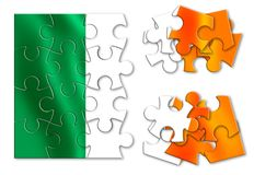 Reunification of Ireland - concept image in jigsaw puzzle shape.  Stock Image