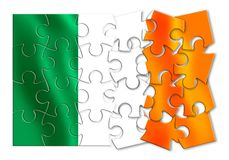 Reunification of Ireland - concept image in jigsaw puzzle shape.  Royalty Free Stock Images