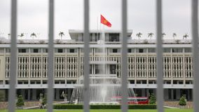 Reunification palace in Ho Chi Minh. Reunification Palace built on the site of the former Norodom Palace, is a landmark in Ho Chi Minh City, Vietnam. It was stock video footage