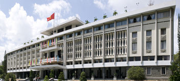 Reunification palace of Vietnam. Perspective panoramic view of Reunification palace of Vietnam Royalty Free Stock Image