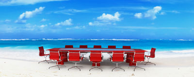 Reunião de negócio no paraíso Fotografia de Stock Royalty Free