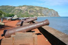 Reunion island #10. Ancient canons in Reunion Island stock images