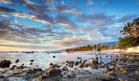 Reunion island coastline. Scenic view of cloudscape over Etang-Sale marina on Reunion Island, France stock images