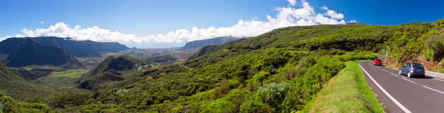 Reunion Island landscape. Panoramic scenic view of road in mountainous landscape of Plaine des Palmites, Reunion Island Royalty Free Stock Images