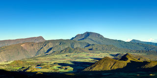 Reunion Island landscape. Scenic view of Plaine des Cafres plateau with Piton des Neiges massif in background, Reunion Island stock image
