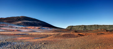 Reunion Island landscape. Volcanic landscape of Plaine des Sables with hoarfrost, Reunion Island National Park royalty free stock photo