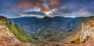 Reunion island landscape. Scenic view of Mafate Cirque viewed from Maido with cloudscape background at sunrise, Reunion Island stock image