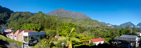 Reunion Island mountains. Panoramic landscape of the village of Hell-bourg, Reunion Island, France royalty free stock photo