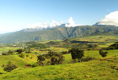 Reunion Island Mountains. Volcanic mountains and meadows at Reunion Island Royalty Free Stock Photography