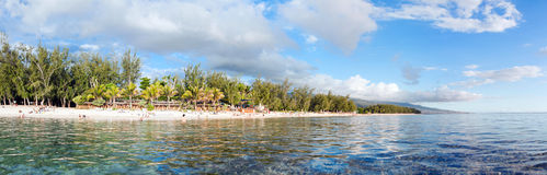 Reunion Island view. Beautiful Plage de l'Hermitage beach on Reunion Island in the Indian Ocean royalty free stock images