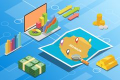 Reunion isometric financial economy condition concept for describe country growth expand - vector. Illustration vector illustration