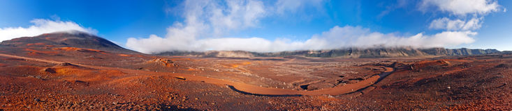 Reunion National Park. Panoramic scenic view of road on volcanic landscape of the Plaine des Sables, Reunion Island Royalty Free Stock Photos