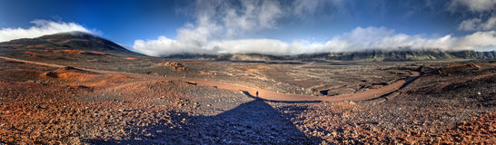 Reunion National Park. Panoramic scenic view of road on volcanic landscape of the Plaine des Sables, Reunion Island Stock Photography